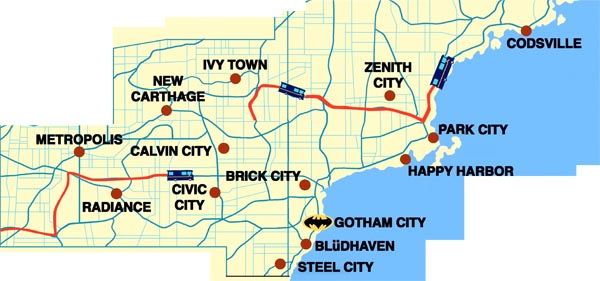 Gotham City Great Krypton - Dc universe us map