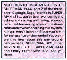 ADVENTURES OF SUPERMAN #443 next-issue chatter