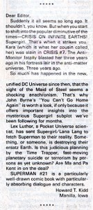 Letter from Howard Kidd on SUPERMAN (Vol. 1) #21