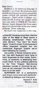 Letter from Howard Kidd on SUPERMAN (Vol. 1) #21