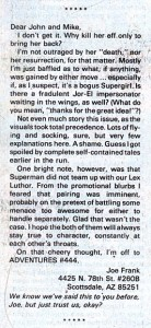 Letter from Joe Frank on SUPERMAN (Vol. 1) #21