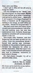 Letter from Joe Frank on SUPERMAN (Vol. 1) #21