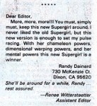 Letter from Randy Dainard on SUPERMAN (Vol. 1) #21