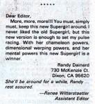 Letter from Randy Dainard on SUPERMAN (Vol. 1) #21
