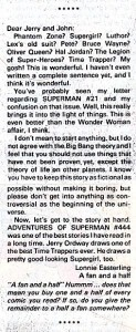 Letter from Lonnie Easterling on ADVENTURES OF SUPERMAN #448