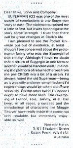 Letter from Narrelle Harris on SUPERMAN (Vol. 2) #22